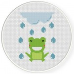Rain Frog Cross Stitch Illustration