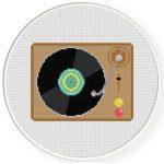Record Player Cross Stitch Illustration