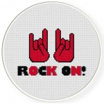 Rock On Cross Stitch Illustration
