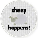 Sheep Happens! Cross Stitch Illustration