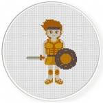 The Warrior Cross Stitch Illustration