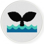 Whale Tail Cross Stitch Illustration