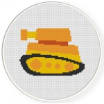Yellow Tank Cross Stitch Illustration