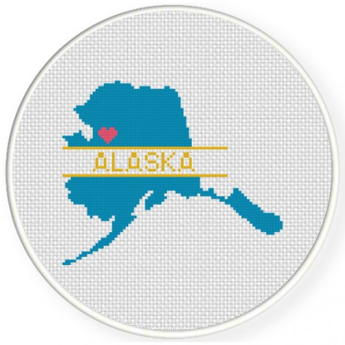 Alaska Love Cross Stitch Illustration