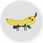 Banana Rides Ant Cross Stitch Illustration
