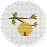Bee Hive Cross Stitch Illustration