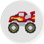 Cool Monster Trucks Cross Stitch Illustration