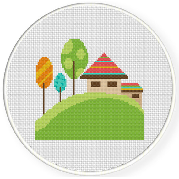 Charts Club Members Only Cute Little House Cross Stitch Pattern