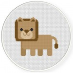 Cute Polygon Lion Cross Stitch Illustration