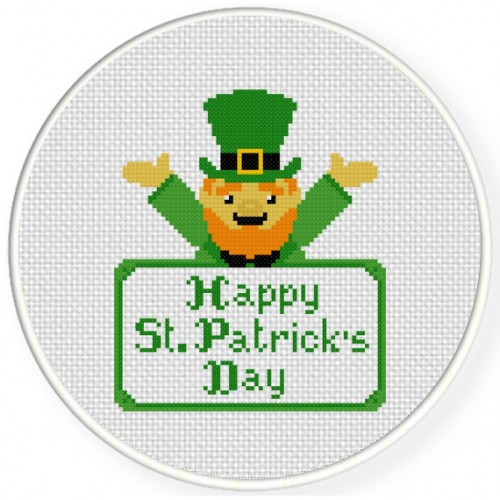 Happy St. Patrick's Day Cross Stitch Illustration