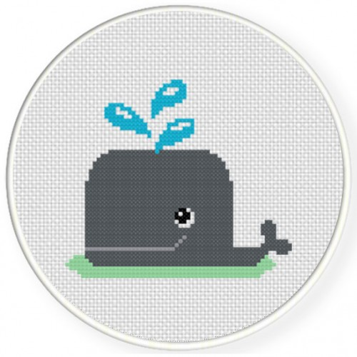 Happy Whale Cross Stitch Illustration