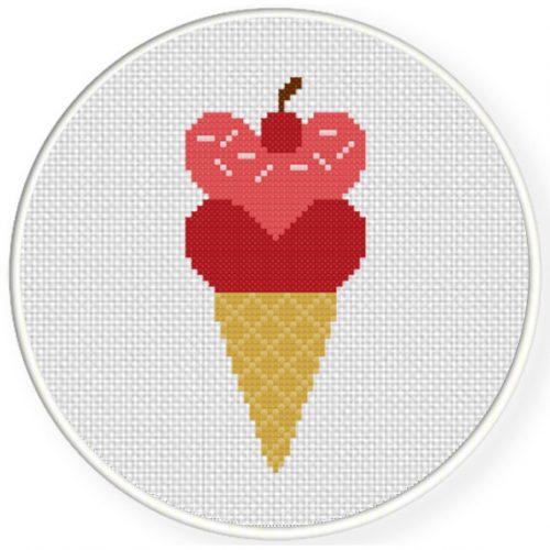 Heart Cone Cross Stitch Illustration