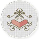 Heart Ornament Cross Stitch Illustration