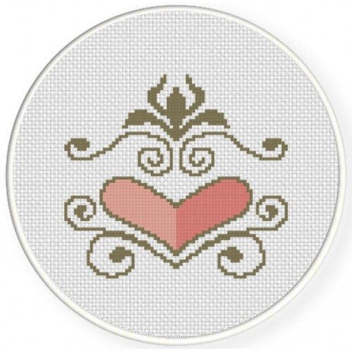 Heart Ornament Cross Stitch Illustration