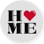 I Love Home Cross Stitch Illustration