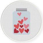Jar Of Hearts Cross Stitch Illustration