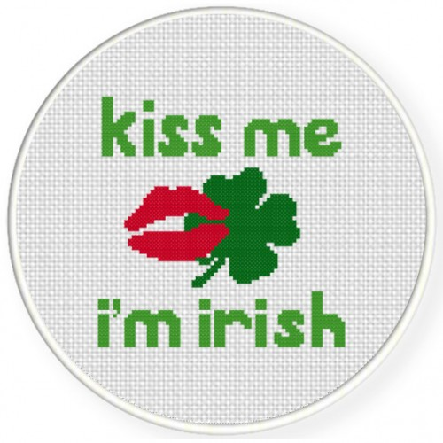 Kiss Me I'm Irish Luck Cross Stitch Illustration