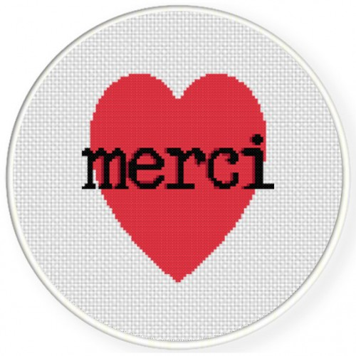 Merci Cross Stitch Illustration