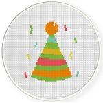 Party Hat Cross Stitch Illustration