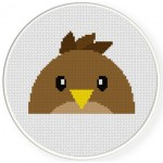 Peeking Bird Cross Stitch Illustration