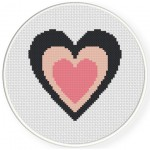 Pink And Black Heart Cross Stitch Illustration