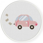Pink Car Cross Stitch Illustration