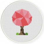 Polygon Tree Cross Stitch Illustration