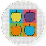 Pop Art Apple Cross Stitch Illustration