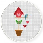 Potted Bird House Cross Stitch Illustration