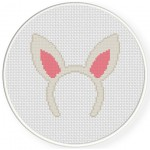 Rabbit Hair Band Cross Stitch Illustration