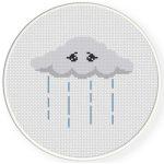 Sad Rain Cloud Cross Stitch Illustration