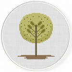 Simple Tree Cross Stitch Illustration