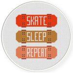 Skate Sleep Repeat Cross Stitch Illustration