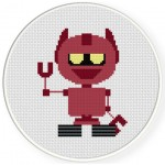 Smiling Robot Cross Stitch Illustration