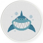 Smiling Shark Cross Stitch Illustration