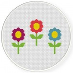 Triple Flower Cross Stitch Illustration