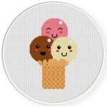 Triple Ice Cream Cross Stitch Illustration