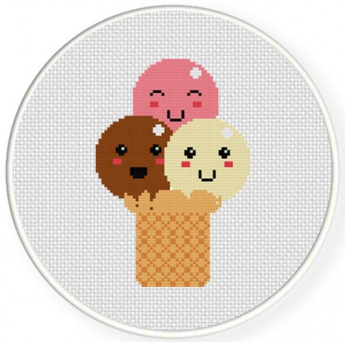 Triple Ice Cream Cross Stitch Illustration