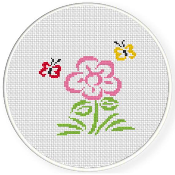 A Flower And Butterflies Cross Stitch Pattern Daily Cross Stitch Mesmerizing Cross Stitch Flower Patterns