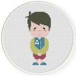 A Little Shy Boy Cross Stitch Illustration
