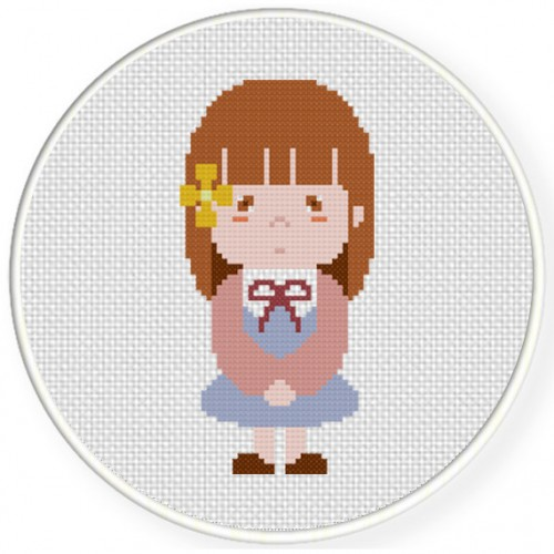 A Little Shy Girl Cross Stitch Illustration