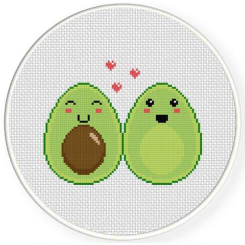 Avocado Halves Cross Stitch Illustration