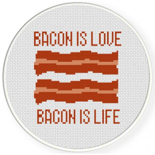 Bacon Is Love Bacon Is Life Cross Stitch Illustration