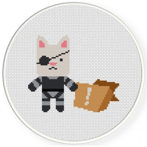 Badass Cat Cross Stitch Illustration