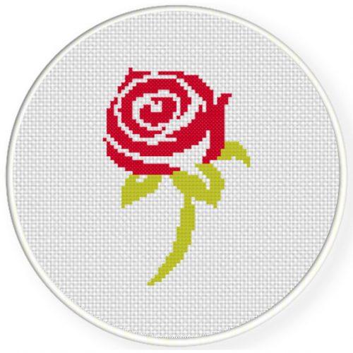 Beautiful Rose Cross Stitch Illustration