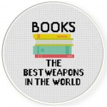 Books Are The Best Weapons Cross Stitch Illustration