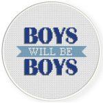 Boys Will Be Boys Cross Stitch Illustration