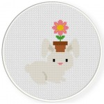 Bunny And Flower Pot Cross Stitch Illustration