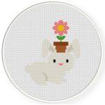 Bunny And Flower Pot Cross Stitch Illustration