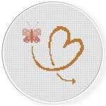 Butterfly Heart Cross Stitch Illustration